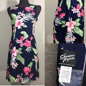 Vintage 1980s Dress Hawaiian Print Small - floral